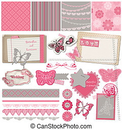 Scrapbook Design Elements - Vintage Lace Butterflies - in...