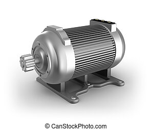 Electric motor 3D image Isolated on white