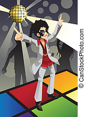 Disco man - A vector illustration of a man dancing disco on...