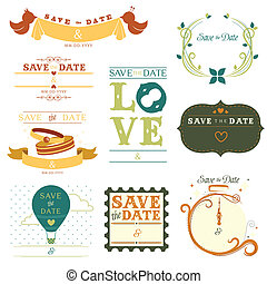 Save the date tag - A vector illustration of a collection of...