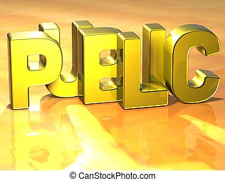 3D Word Public on yellow background