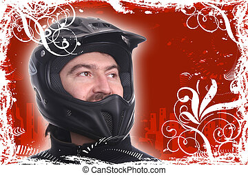 hamlet - man in a motorcycle helmet