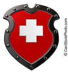 switzerland - metal shield with switzerland flag - 3d...
