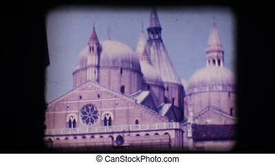Vintage 8mm. View of church - Vintage 8mm. Original footage...