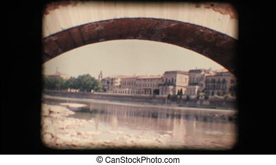 Vintage 8mm. Adige river in Verona