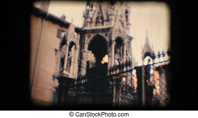 Vintage 8mm. Monument in Verona