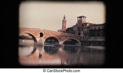 Vintage 8mm. Medieval bridge