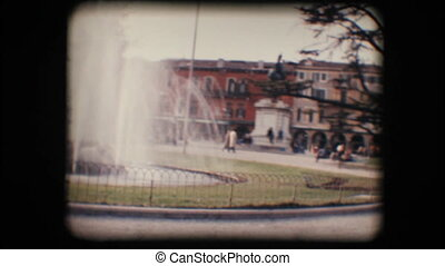 Vintage 8mm. Park and fountain