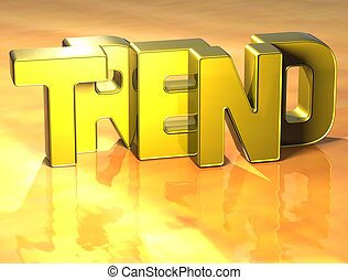 3D Word Trend on yellow background