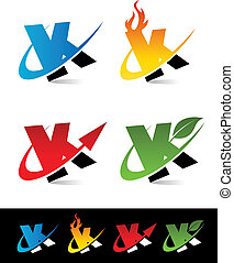 Swoosh Alphabet Icons K - Vector set of colorful swoosh K...