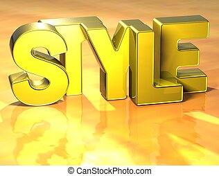 3D Word Style on yellow background