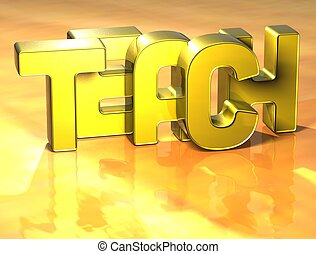 3D Word Teach on yellow background