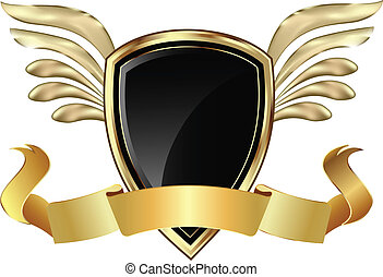 Gold Shield with wings and bow vector