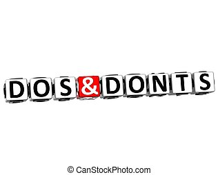 3D Dos And Donts Button Click Here Block Text over white...