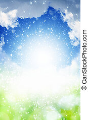 Abstract spring background - bright light from blue sky