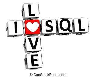 3D I Love SQL Crossword on white background