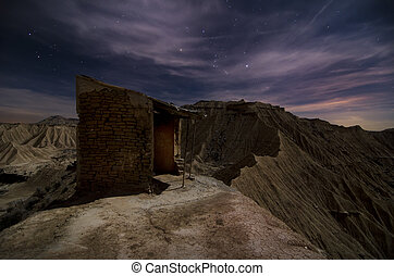 Shepherd hut at desert night