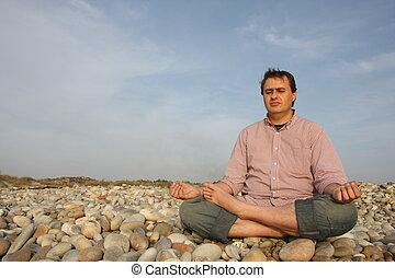 praia, meditação