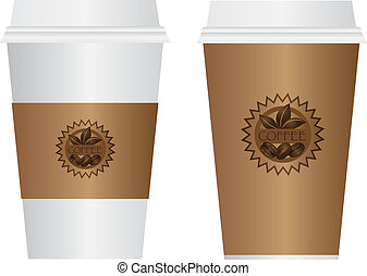 Coffee To Go Cups Illustration - Hot Coffee Disposable To Go...