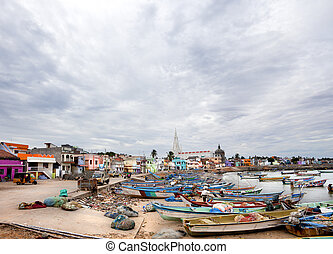 Kanyakumari, India-September 9, 2012 Dozens of fishing boats...