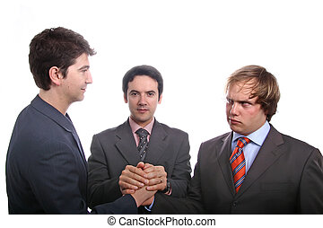 business men - Three young business men portrait on white