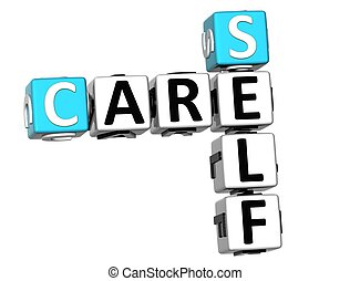 3D Care Self Crossword on white background