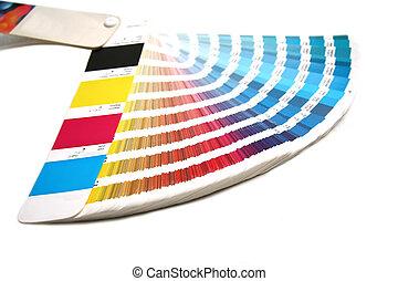 cor, Guia, Partida, cores, imprimindo