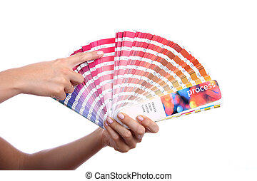 color guide - hands holding a color guide
