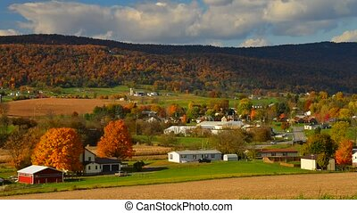 Amish countryside in rural Pennsylv - Timelapse of Panoramic...
