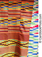 African Kente Cloth - African fabric photographed at a local...