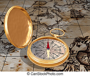 Old compass on map - Illustration of antique compass on a...