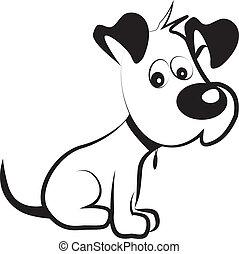 cão, tímido, terrier, silueta, vetorial