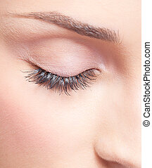 Closed eye with eye shadows - Closed eye of young beautiful...