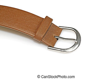 leather strap - closeup of a leather watch band on a white...