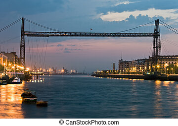 Hanging bridge between Portugalete and Getxo, Bizkaia...