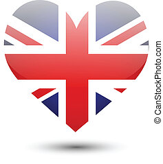 Great Britain flag on heart