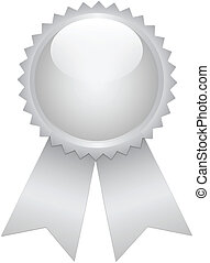 Silver prize ribbon on white