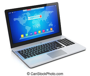 Modern laptop with blue interface - Mobility PC computer...