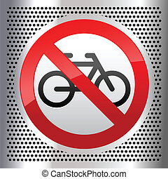 Symbols bike - Symbol on a metallic perforated stainless...