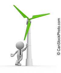 Wind turbine - 3d people - man, person with a wind turbine....