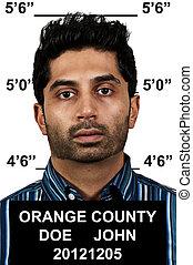 Man Mugshot - Mugshot of a handsome young man criminal