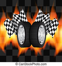 Background with checkered flags and wheels