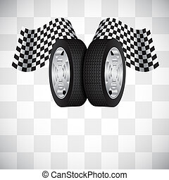 Racing background with wheel and checkered flag