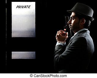 Private Detective - Male police private detective man on the...