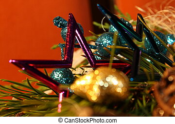 christmass star with green twig