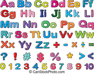 Alphabets and numbers - Illustration of alphabets and...