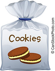 A pouch bag of cookies - Illustration of a pouch bag of...