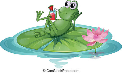A frog relaxing on a leaf - Illustration of a frog relaxing...