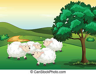 Sheeps - Illustration of sheeps in a beautiful nature