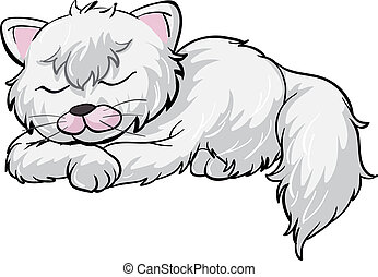A sleeping cat - Illustration of a sleeping cat on a white...